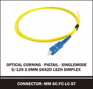 corning pigtail singlemode 9/125 2.0mm G652D simplex